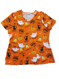 Womens Orange Faboolous Halloween Medical Smock Ghost & Cat Scrubs Shirt