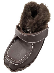 Infant Boys Fuzzy Brown Dress Loafers Moccasins Kids Baby Shoes