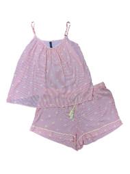 Ambrielle Womens Lightweight Pink Palm Stripe Pajamas Tank Top & Shorts Set