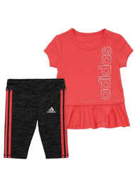 Adidas Infant Girls Salmon Pink Tunic & Capri Legging Athletic Sports Outfit 18m