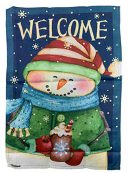 Blue & Green Welcome Snowman Holiday Decorative Garden Suede Flag 18 x 12.5 In