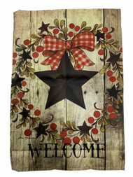 Welcome Star Fall Holiday Thanksgiving Decorative Garden Suede Flag 18 x 12.5 In