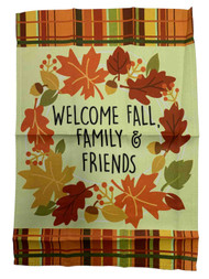 Welcome Fall Family Friends Thanksgiving Decorative Garden Suede Flag 18 x 12.5