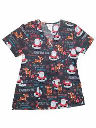 Rudolph Reindeer Womens Gray Reindeer & Santa Christmas Holiday Scrubs Top