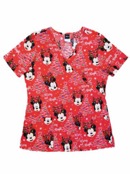 Disney Womens Red Minnie & Mickey Mouse Christmas Holiday Scrubs Top Smock
