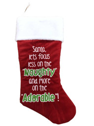 Red Santa Focus Less On Naughty More On Adorable Christmas Holiday Stocking
