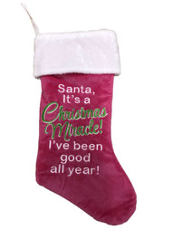 Pink Santa Miracle Good All Year Celebration Christmas Holiday Stocking