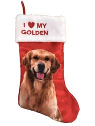 Red Satin I Love My Golden Retriever Christmas Holiday Stocking