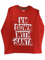 "Boys Red ""I'm Down With Santa"" Christmas Holiday Long Sleeve Shirt Top"