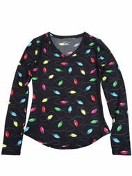 Junior Womens Christmas Lights Print Black Long Sleeve Fitted V Neck Shirt