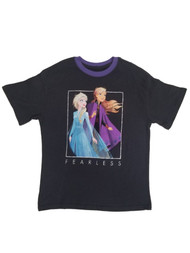 Disney Frozen Junior Womens Black Elsa & Anna T-Shirt Fearless Tee Shirt
