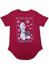 Disney Frozen Junior Womens Red Olaf Warm Hugs Snowman Tee Shirt T-Shirt
