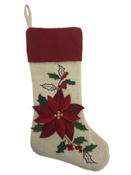 Beige Sack Poinsettia Red Flower Christmas Holiday Stocking