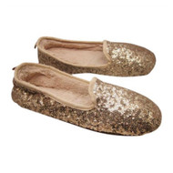 Envision Studio Womens Gold Sequin Slippers Moccasins  (5-6)