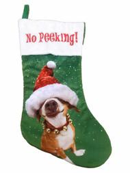 Avanti Dog Jingle Bell Santa Hat No Peeking Christmas Holiday Stocking