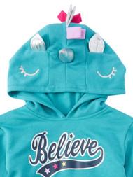 Girls Aqua Hazel 3D Unicorn Costume Hoodie Believe Sweatshirt