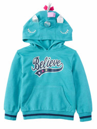 Girls Aqua Hazel 3D Unicorn Costume Hoodie Believe Sweatshirt