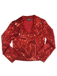 Girls JoJo's Closet Red Sequin Holiday Collection Zip Up Jacket
