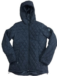 Womens Black Lightweight Hooded Quilted Jacket Puffer Coat Small