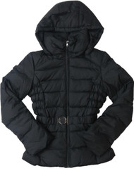 Womens Black Quilted Zip Hood Down Filled Jacket Puffer Winter Coat Medium