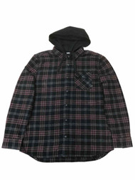 Vans Mens Black Red Plaid Flannel Hoodie Button Front Shirt Jacket X-Large