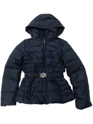 Womens Navy Blue Quilted Zip Hood Down Filled Jacket Puffer Winter Coat
