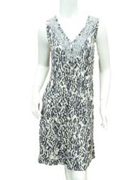 Covington Womens Gray Ivory Leopard Print Sleep Shirt Lace Nightgown Nightie