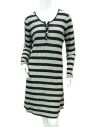 Covington Womens Black Gray Striped Sleep Shirt Lightweight Nightgown Nightie
