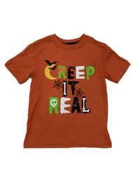 "Boys Orange ""Creep It Real"" Halloween T-Shirt Spider Webs & Bats"