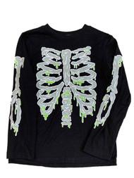 Boys Black & Slime Green Skeleton Halloween Long Sleeve T-Shirt Top