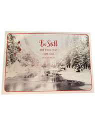 14 Count Be Still White Glitter Sparkle Christmas Holiday Cards w/Envelopes