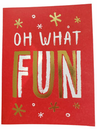 8 Count Oh What Fun Red & Gold Shiny Foil Christmas Holiday Cards w/Envelopes