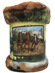 "American Heritage Royal Plush Horses Throw Blanket ""Spring Run"" 50 in X 60 in"