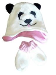 Infant & Toddler Girls White Knit Panda Bear Hat & Mittens Set Beanie