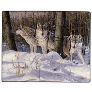 """American Heritage Royal Plush Wolves Throw Blanket """"Silent Trackers"""" 50"""" X 60"""""""