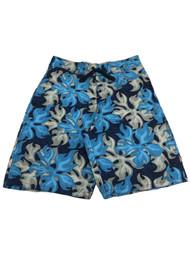 Mens Blue Gray Wavy Swirling Flower Swim Board Shorts Trunks 30