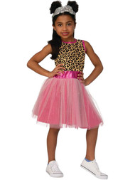 BOXY GIRL Girls Leopard & Pink Glitter Nomi Halloween Costume Dress S 4-6