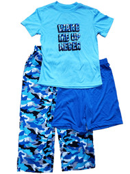 Boys Blue Camo Wake Me Up Never T-Shirt Shorts & Pant 3 Piece Pajama PJ Set