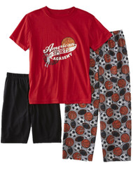Boys Sports Print Red T-Shirt Shorts & Pant 3 Piece Sleepwear Pajama PJ Set