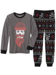 Boys Dark Grey Skull Hipster Long Sleeve Shirt & Pant 2 Piece Pajama PJ Set