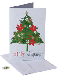 40 Count Glitter Floral Tree Merry Christmas Holiday Cards w/Envelopes & Seals