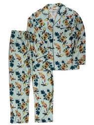 Batman & Robin Mens Aqua Blue Retro Surfs Up Flannel Pajamas Sleep Set