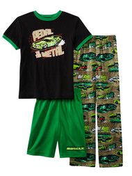 Boys Black & Green Pedal To The Metal Hot Rods 3 Pc Sleepwear Pajama PJ Set