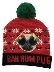 Mens Red Bah Hum Pug Christmas Holiday Stocking Cap Ugly Puppy Dog Beanie Hat