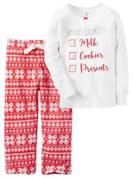 Carters Girl Santa's Checklist Christmas Holiday 2 Pc Pajama Set PJ Sleepwear