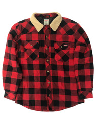 Dickies Mens Red & Black Buffalo Plaid Quilted Flannel Jacket Shirt