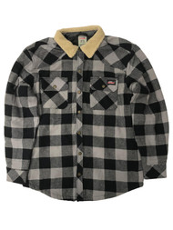 Dickies Mens Gray & Black Buffalo Plaid Quilted Flannel Jacket Shirt