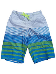 Boys Blue & Green Stripe Swim Surf Trunks Swimwear Summer Board Shorts