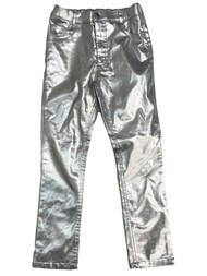Girls Shiny Metallic Silver Leggings Pants Jeans