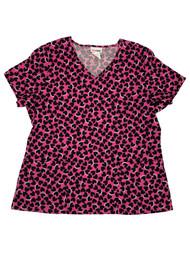 Womens Pink & Black Hearts Valentines Day Medical Smock Scrubs Shirt Top